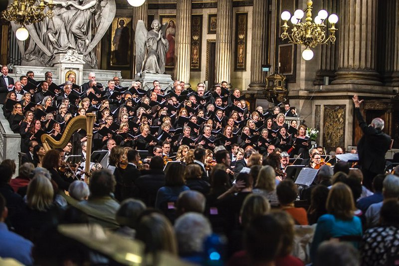 Chorus and Orchestra performing to large audience