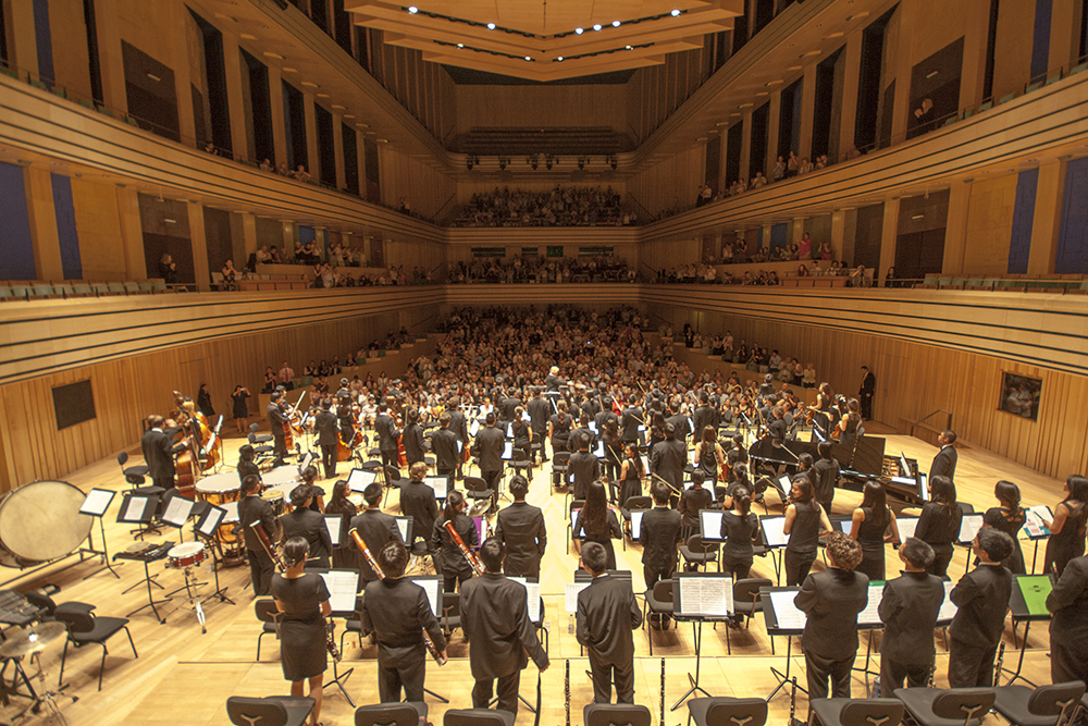 Pespective image from rear of orchestra recieving applause from full concert hall
