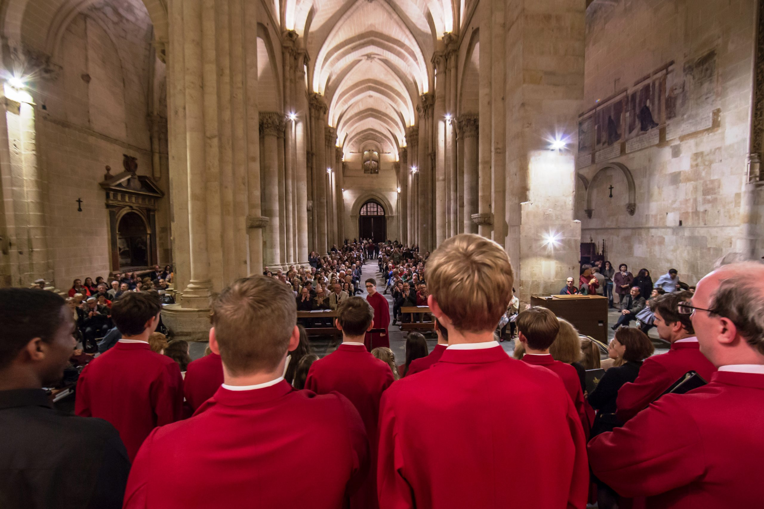Perspective from rear of choir performing to full cathedral audience